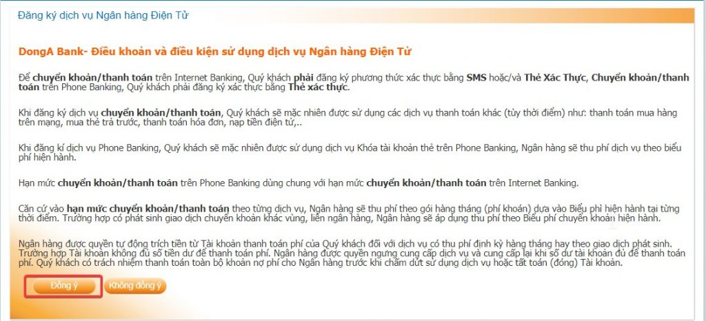 Truy cập vào website DongA Internet Banking qua địa chỉ: TẠI ĐÂY. Nhấn chọn Đăng nhập tại mục Khách hàng cá nhân.
