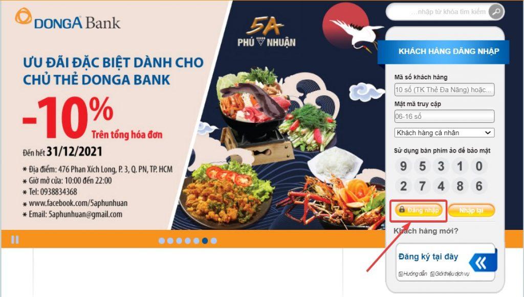 Chọn vào mục Thông tin tài khoản để tiến hành kiểm tra số dư tài khoản Đông Á